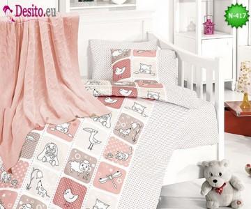 Детско спално бельо с плетено одеяло N-417