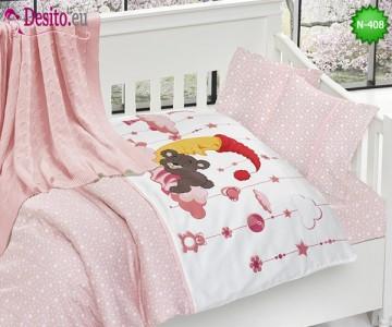 Детско спално бельо с плетено одеяло N-408