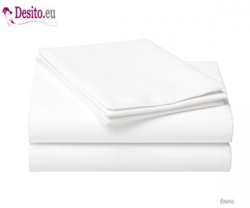 Чаршаф с ластик и две калъфки - бяло