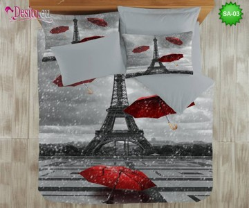 3D спално бельо от памучен сатен SA-03