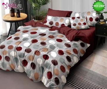 Спално бельо от 100% памук, 6 части, двулицево с код M3-288