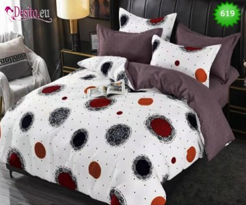 Спално бельо от 100% памук, 6 части, двулицево с код 619