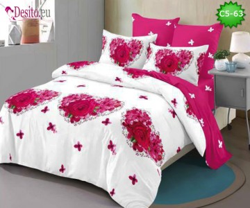 Спално бельо от 100% памук, 6 части и чаршаф с ластик с код C5-63