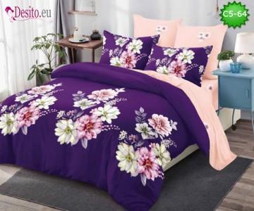Спално бельо от 100% памук, 6 части и чаршаф с ластик с код C5-64