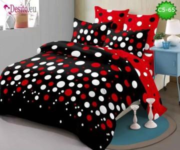 Спално бельо от 100% памук, 6 части и чаршаф с ластик с код C5-65