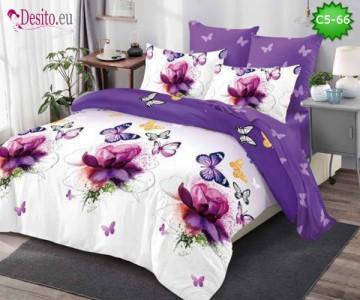 Спално бельо от 100% памук, 6 части и чаршаф с ластик с код C5-66