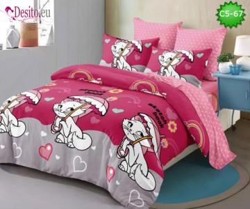 Спално бельо от 100% памук, 6 части и чаршаф с ластик с код C5-67