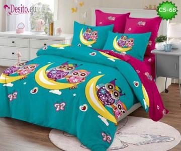 Спално бельо от 100% памук, 6 части и чаршаф с ластик с код C5-68