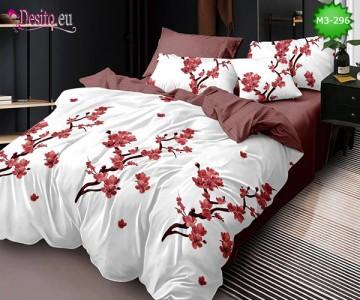 Спално бельо от 100% памук, 6 части, двулицево с код M3-296