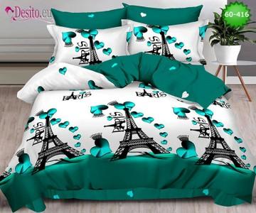 Спално бельо от 100% памук, 6 части, двулицево с код 60-416