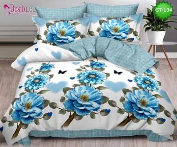 Спално бельо от 100% памук, 6 части и чаршаф с ластик с код GT-134