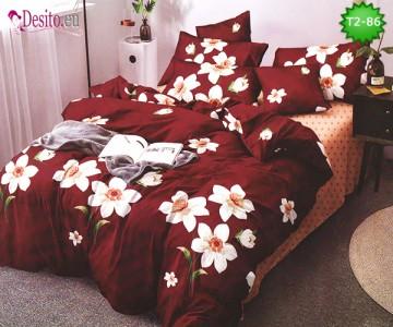 Спално бельо от 100% памук, 6 части - двулицево, с код T2-86