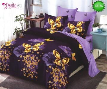 Спално бельо от 100% памук, 6 части - двулицево, с код T2-87