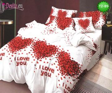 Спално бельо от 100% памук, 6 части - двулицево, с код T2-89