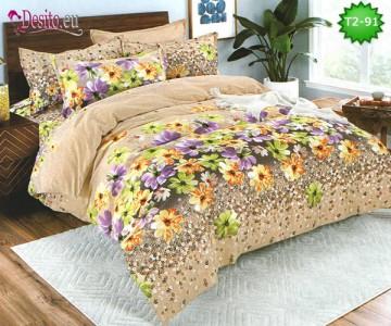 Спално бельо от 100% памук, 6 части - двулицево, с код T2-91