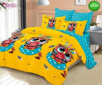 Спално бельо от 100% памук, 6 части и чаршаф с ластик с код C5-69