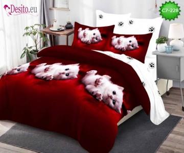 Спално бельо от 100% памук, 6 части - двулицево, с код C7-228