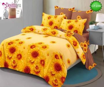 Спално бельо от 100% памук, 6 части - двулицево, с код C7-230