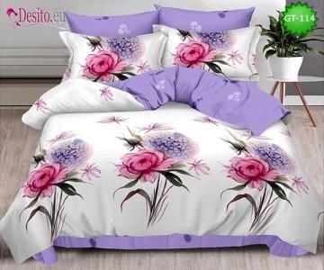 Спално бельо от 100% памук, 6 части и чаршаф с ластик с код GT-114