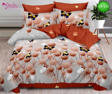 Спално бельо от 100% памук, 6 части и чаршаф с ластик с код GT-121