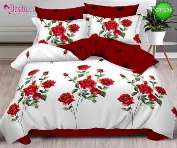 Спално бельо от 100% памук, 6 части и чаршаф с ластик с код GT-136