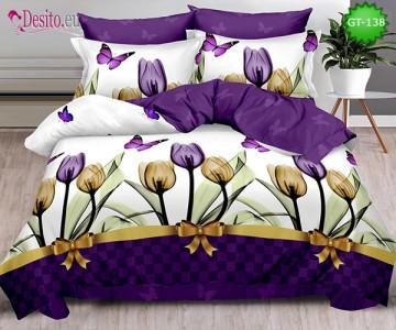 Спално бельо от 100% памук, 6 части и чаршаф с ластик с код GT-138