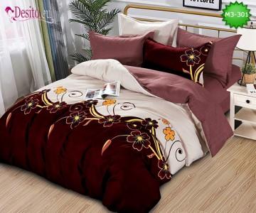 Спално бельо от 100% памук, 6 части, двулицево с код M3-301