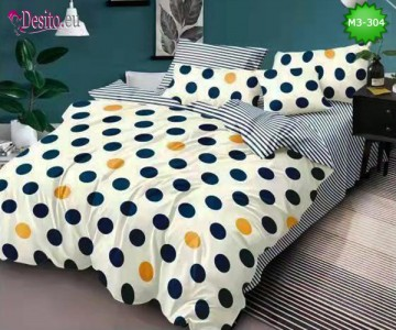 Спално бельо от 100% памук, 6 части, двулицево с код M3-304