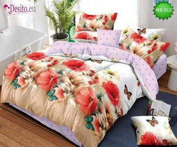 Спално бельо от 100% памук, 6 части, двулицево с код M3-315