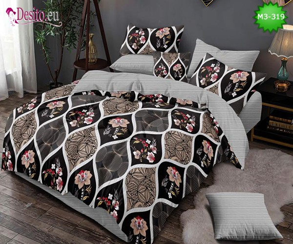 Спално бельо от 100% памук, 6 части, двулицево с код M3-319