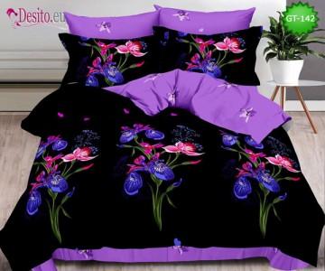 Спално бельо от 100% памук, 6 части и чаршаф с ластик с код GT-142