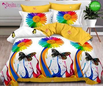 Спално бельо от 100% памук, 6 части и чаршаф с ластик с код GT-146