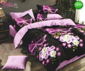 Спално бельо от 100% памук, 6 части - двулицево, с код T2-97