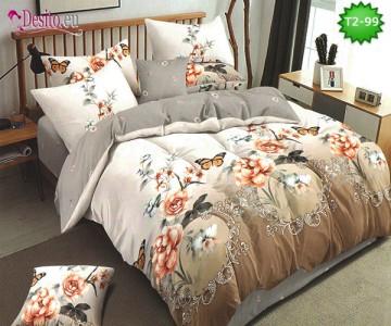 Спално бельо от 100% памук, 6 части - двулицево, с код T2-99