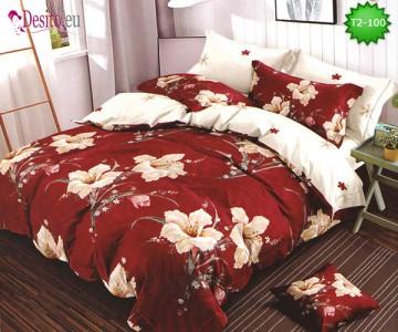 Спално бельо от 100% памук, 6 части - двулицево, с код T2-100