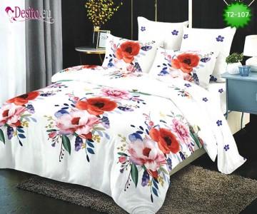 Спално бельо от 100% памук, 6 части - двулицево, с код T2-107
