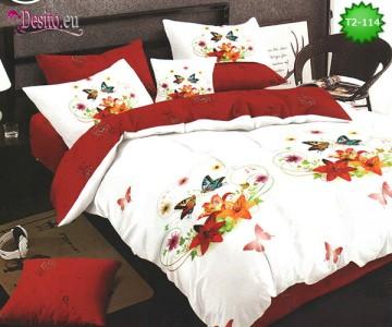 Спално бельо от 100% памук, 6 части - двулицево, с код T2-114