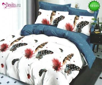 Спално бельо от 100% памук, 6 части - двулицево, с код T2-115