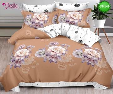 Спално бельо от 100% памук, 6 части и чаршаф с ластик с код GT-148