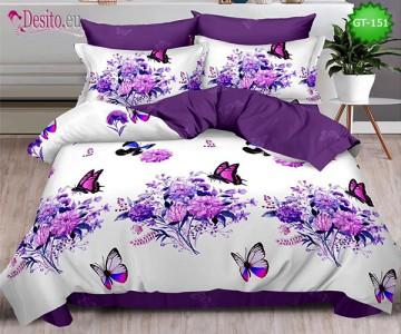 Спално бельо от 100% памук, 6 части и чаршаф с ластик с код GT-151