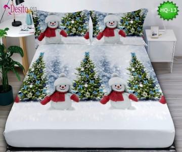 Коледен чаршаф с ластик и две калъфки, 100% памук с код HQ-13