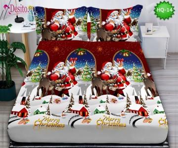 Коледен чаршаф с ластик и две калъфки, 100% памук с код HQ-14