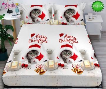 Коледен чаршаф с ластик и две калъфки, 100% памук с код HQ-15
