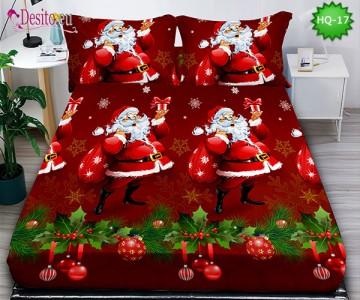 Коледен чаршаф с ластик и две калъфки, 100% памук с код HQ-17