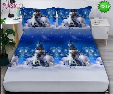 Коледен чаршаф с ластик и две калъфки, 100% памук с код HQ-19