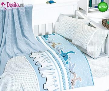 Детско спално бельо с плетено одеяло N-412