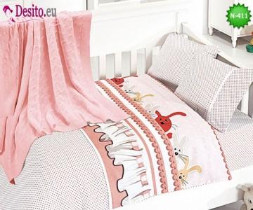 Детско спално бельо с плетено одеяло N-411