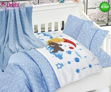 Детско спално бельо с плетено одеяло N-409