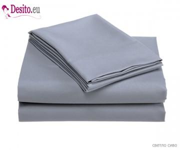 Чаршаф с ластик и две калъфки - светло сиво