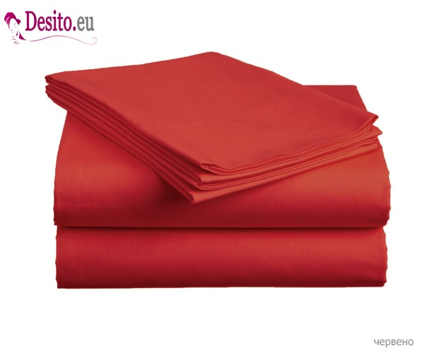 Чаршаф с ластик и две калъфки - червено